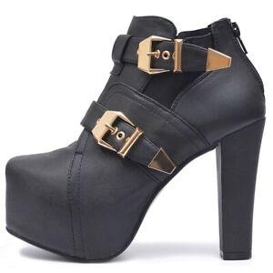 Senora-botines-chelsea-plataforma-botines-zapatos-de-salon-cremallera-negra
