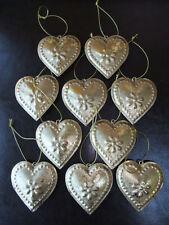 Set of 10 Vintage, Da Appendere cuore di metallo Shabby Chic Decorazione ORO