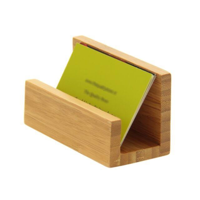 Desk business card holder natural bamboo wood ebay bamboo desk business card holder colourmoves