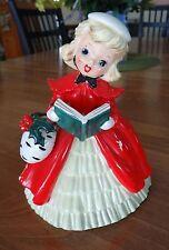 VINTAGE CHRISTMAS DECORATION GIRL CAROLER CERAMIC PLANTER  1950'S HOLIDAY FIGURE
