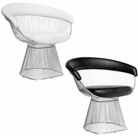 Black Or White Leather Platner Style Lounge Arm Chair Stainless Steel Spoke Wire