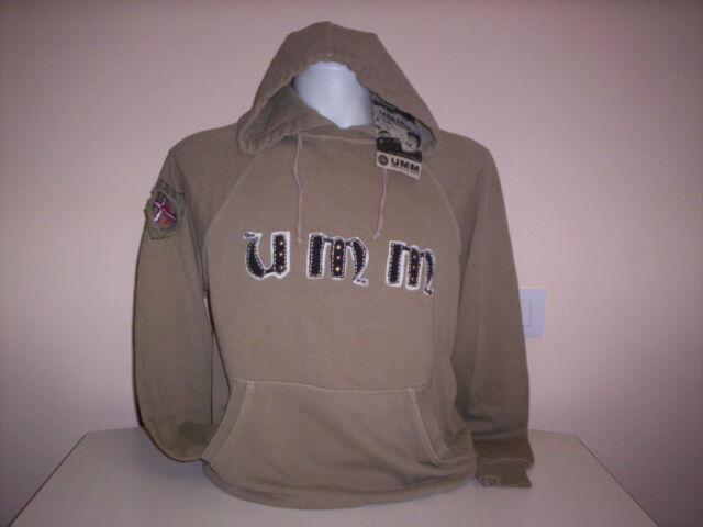 Maglia felpa UMM ragazzo uomo sweater girocollo con cappuccio cotone beige L XL