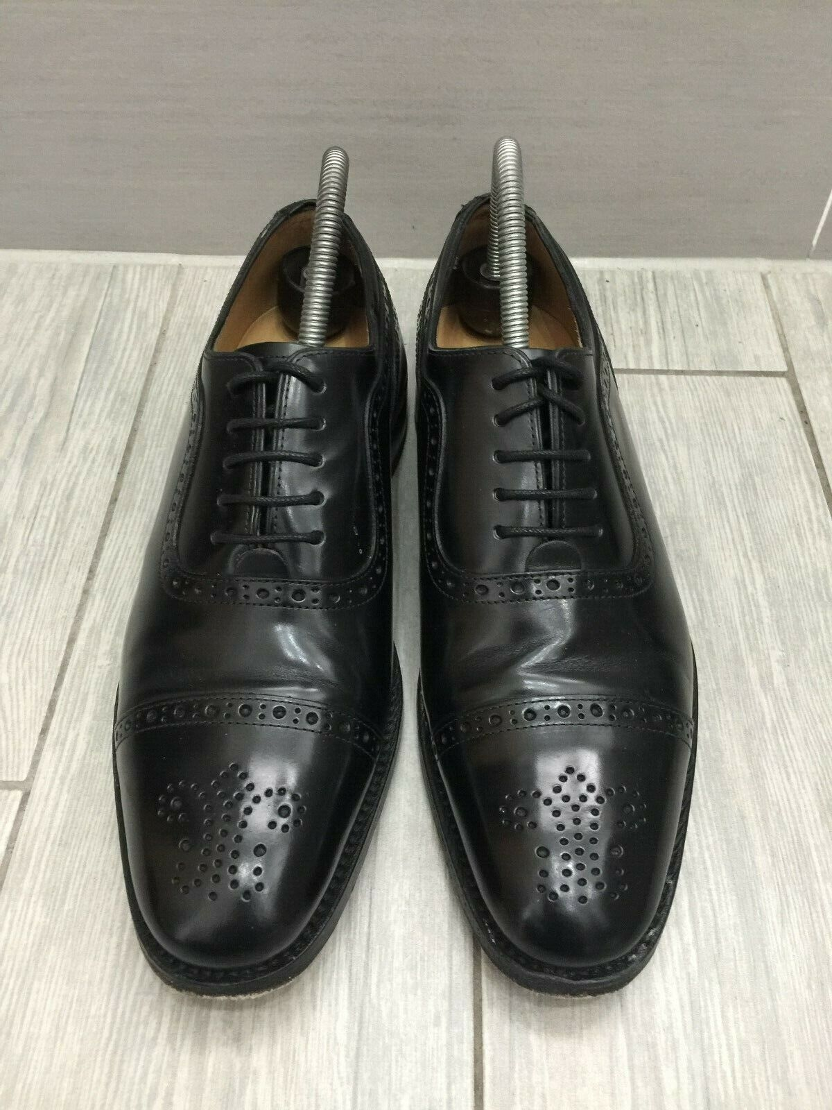 schwarz ALL LEATHER CHARLES TYRWHITT GOODYEAR WELTED OXFORD BROGUES, UK 6.5