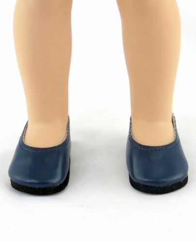 """Navy Ballet Flats fit 14/"""" Wellie Wishers Size Doll Shoes"""