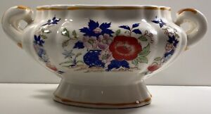 Vintage Floral Chinoiserie Handled Ceramic Pot Planter Orchids Footed Vase