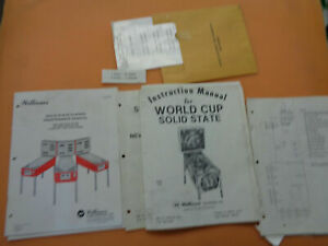 WILLIAMS-PINBALL-world-cup-SET-ORIGINAL-arcade-game-manual