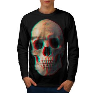 Wellcoda-3D-Human-Skeleton-Skull-Mens-Long-Sleeve-T-shirt-Devil-Graphic-Design