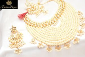 White-Pearl-Kundan-Necklace-Earring-Set-Bridal-Wedding-Ethnic-Women-Jewellery
