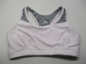 MOVING-COMFORT-Women-039-s-Size-M-Compression-White-Gray-Floral-Racerback-Sports-Bra
