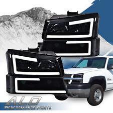 Led Drl Smoked Lens Black Housing Headlights Fit For 2003 2007 Chevy Silverado Fits 2005 Chevrolet Silverado 2500 Hd Ls