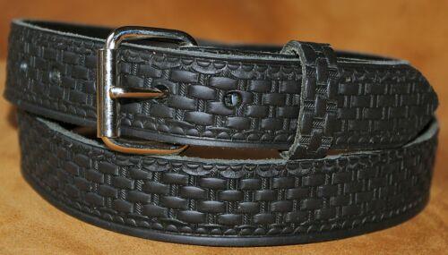 Noir basketweave ceinture fait main en relief cuir pleine fleur véritable 32mm XL XXL
