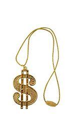 DOLLAR MEDALLION NECKLACE IN GOLD 70s 80s GANGSTER MENS FANCY DRESS