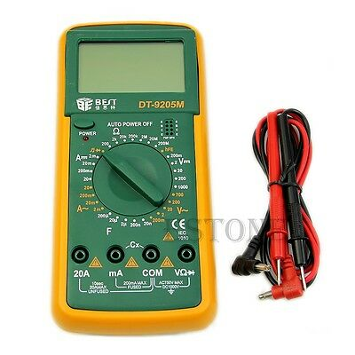 DT9205M Digital Multimeter Voltmeter Ammeter Ohmmeter Capacitance Tester LCD New