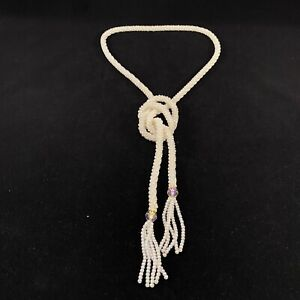 "Beaded FAUX IRIDESCENT PEARL ROPE NECKLACE LONG FLAPPER STYLE 50"" Lariat Tassel"