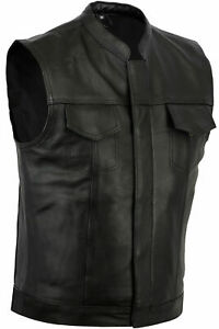 NEW-MOTORCYCLE-SONS-OF-ANARCHY-STYLE-VEST-GENUINE-A-GRADE-COWHIDE-LEATHER-BLACK