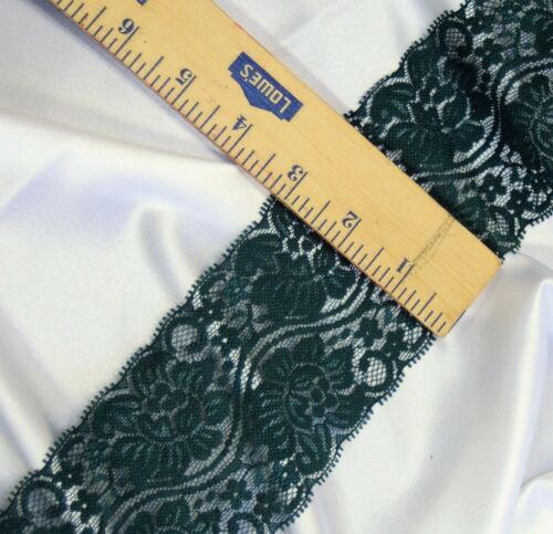 """SOFT lingerie Forrest GREEN Christmas 3/"""" wide stretch lace 10 yard lot"""