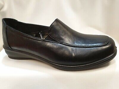 LADIES DR LIGHTFOOT SLIP ON WORK WEDGE WIDE FIT SHOES,BLACK NAVY SIZES 3-8 7671