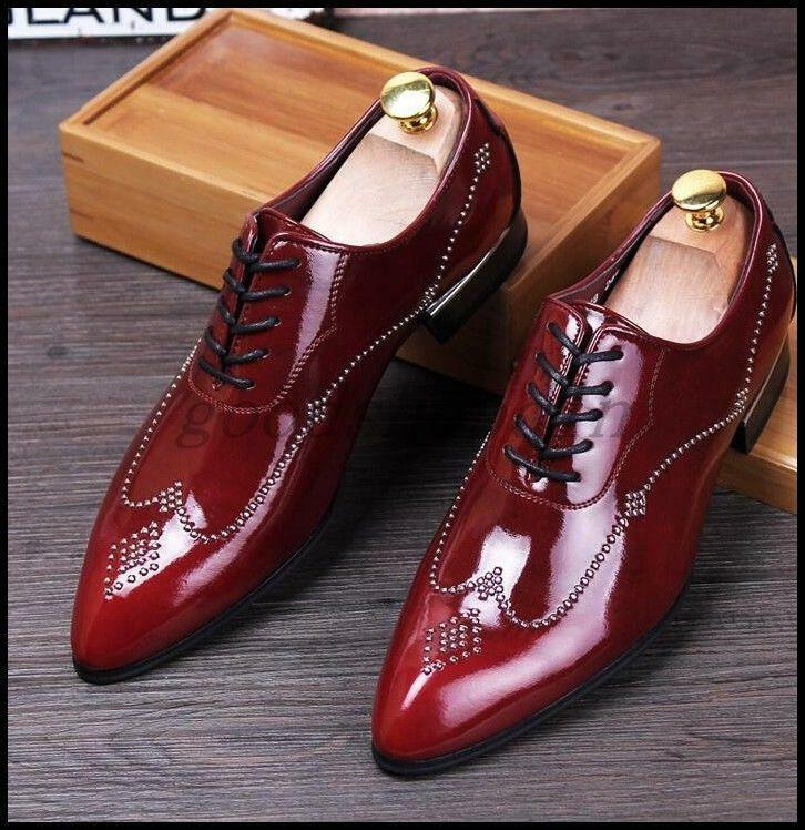 England Fashion Mens Shiny Pointed Toe Rivet Lace Up Dress Formal Wedding shoes