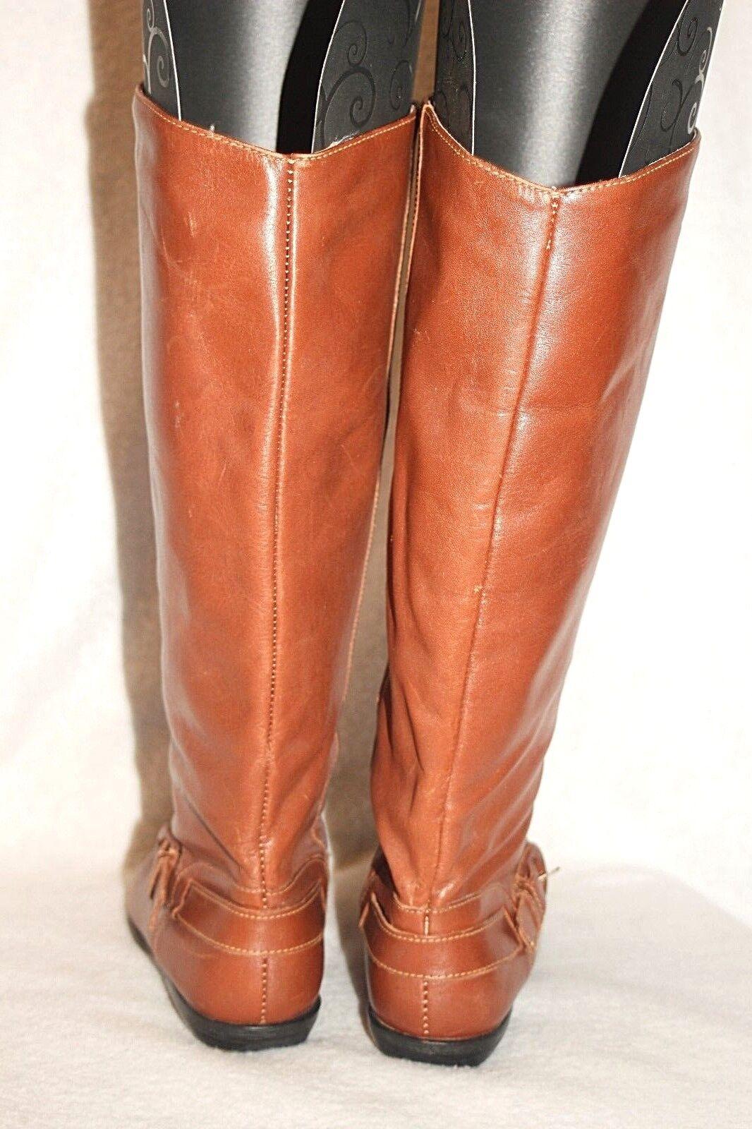 APOSTROPHE Femme Bottes cavalières hautes en cuir cognac marron Brésil Sz 5 VG +++