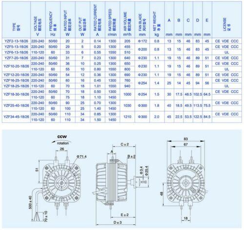 Weiguang YZF 16-25 18-26 ventilateur moteur Réfrigérateur Congélateur 16 W 16 W Multi Fit 220-240 V