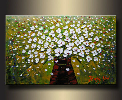 Framed Modern Palette Knife Flower Oil Painting on Wall Art Canvas Hanging Decor