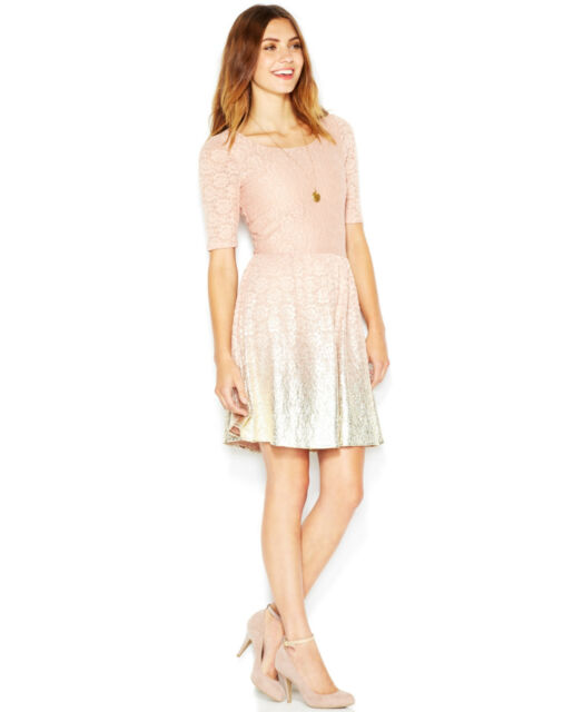 f4ab7c4a52 Maison Jules 5924 Womens Pink Metallic Lace Ombre Cocktail Dress S BHFO