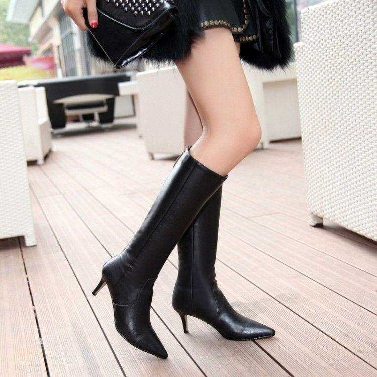 Para Para Para mujer Negro Knee High bota en Punta De Cuero Zapatos Taco Caballero Slim Gatito Talla  100% autentico
