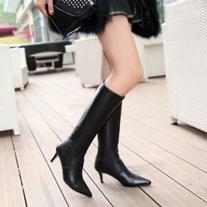 6a56573ef9b Ladies Knee High Boot Leather Club Pointed Toe Kitten Heel Knight ...