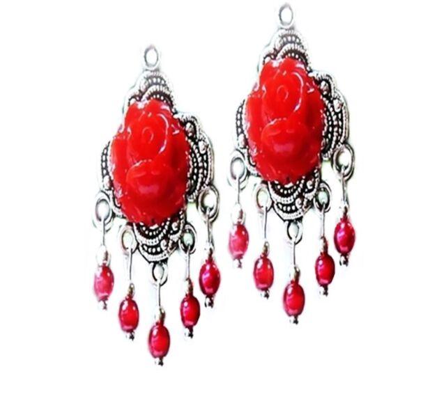 Red rose vintage style Tibetan silver chandelier earrings, clip on or pierced