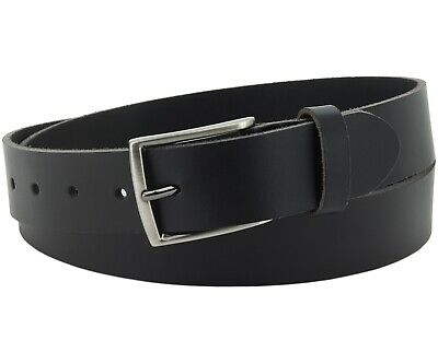 Büffel Ledergürtel 3,5 Cm Herren Damen Belt Echt Voll Leder Gürtel Schwarz Nr.15
