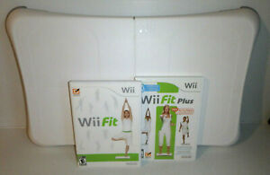Nintendo Wii BALANCE BOARD with Wii FIT & FIT PLUS Bundle Lot Games / Tested/ LN