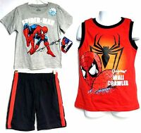 Marvel Spider-man Boy's 3pcs Set Graphic T-shirt, Tank Top & Knit Shorts(4t)nwt