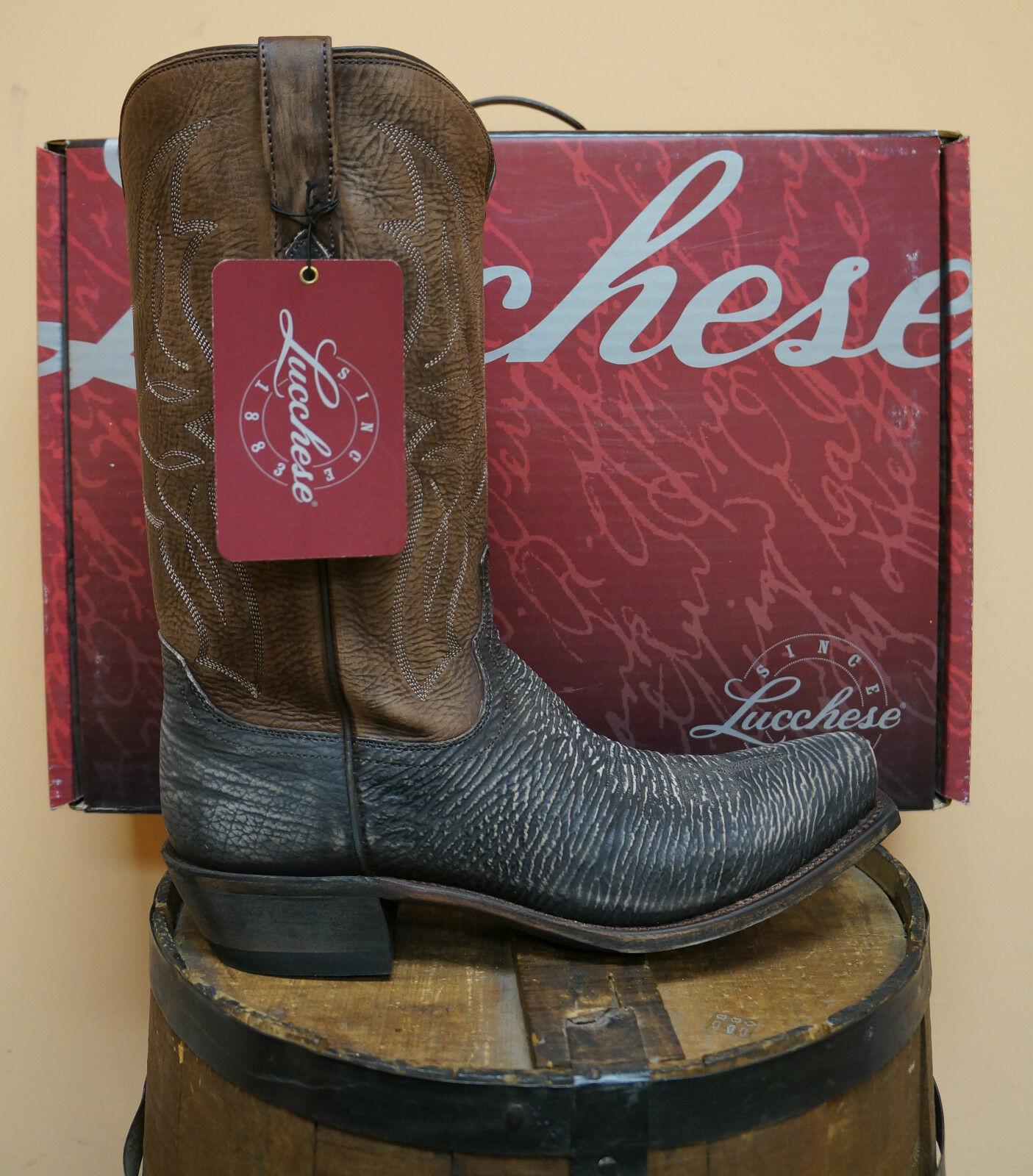 LUCCHESE M3105.74 MENS CHOCOLATE Marronee SANDED SHARK COWBOY stivali