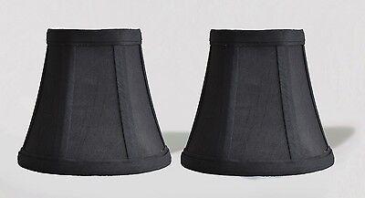 "Urbanest White Cotton w// Coffee Trim Chandelier Mini Lamp Shade,3x6x5/"" Set of 5"