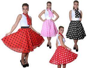 Ladies Women Polka Dot or Plain Rock N Roll Poodle Skirt ...