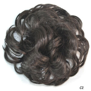9dd3e7315dd Details about Women's Wig Fluffy Curly Wavy Clip in Hair Bun Chignon Donut  Roller Hairpieces