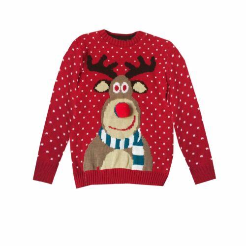 Kids Boys Girls Retro Vintage Rudolph Pom Pom Christmas Jumper Novelty Sweaters