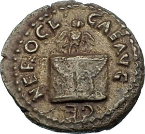 NERO-63AD-Rome-Authentic-Ancient-Roman-Quadrans-Coin-w-OWL-ALTAR-Branch-i65545