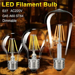 E27-220V-8W-16W-DIMMABLE-EDISON-AMPOULE-A-FILAMENT-G45-A60-ST64-LED-GLOBAL-LAMPE