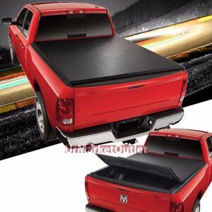 Black Soft Top Tri Fold Tonneau Trunk Cover For 09 17 Dodge Ram