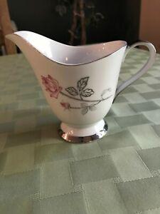 SEYEI-Fine-China-034-Enchantment-034-Creamer-Rose-amp-Silver-1567-Made-in-Nagoya-Japan