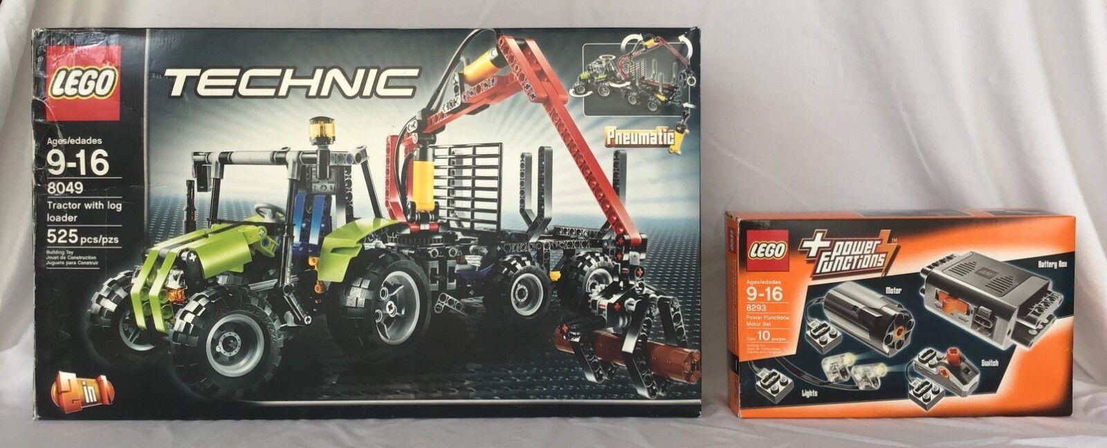 Lego Tractor med Log Loader (8049) och motoruppsättning för effektfunktioner (8293) Combo