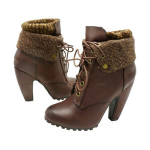 Ankle Boots Lace Up Booties Chunky