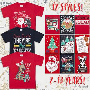 Childrens-Girls-Boys-Xmas-T-Shirts-Printed-Christmas-Design-100-Cotton-2-13-Yrs