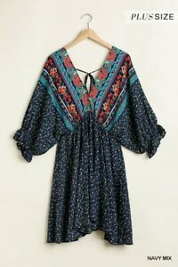 1XL-PLUS-UMGEE-DOUBLE-V-NECK-3-4-PUFF-SLEEVE-EMPIRE-WAIST-TUNIC-TOP-DRESS