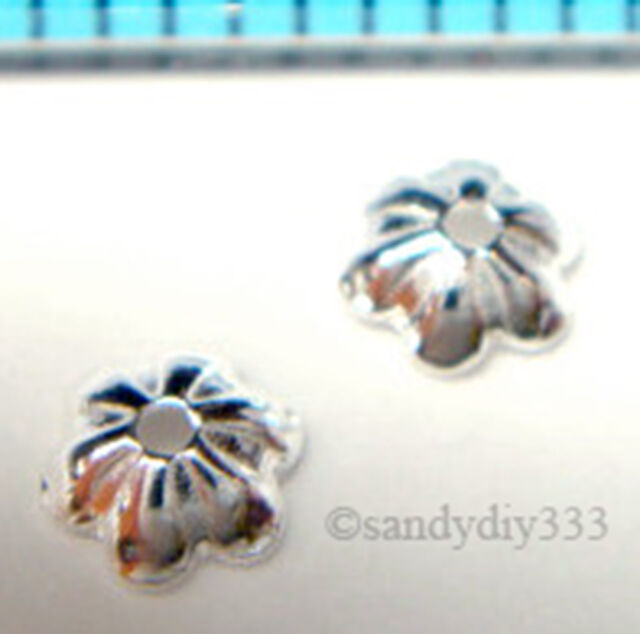 200 pcs x BRIGHT STERLING SILVER SHELL BEAD CAP 3.4mm SPACER BEAD J027H