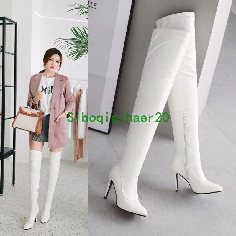 New femmes Pointy Toe Stiletto Heel Over The Knee High bottes Zipper Plus Sz 11.5