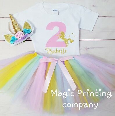 Unicorn Birthday Outfit Dress pastel Tutu Headband 1st 2nd 3rd 4th 5th 6th 7th