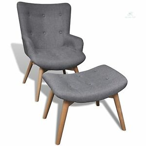 Beau Image Is Loading Retro Fabric Armchair With Stool Footrest Relaxing Seat