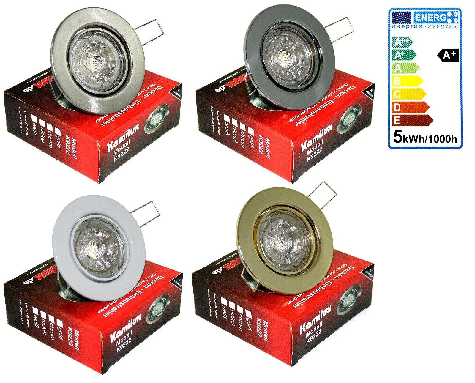 5-15er Set LED Einbau Strahler Tom 5W Lampen GU10 Spot dimmbar Stahl 68mm Loch